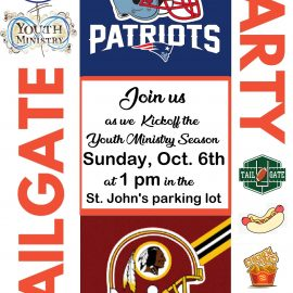 Youth Ministry Tailgate Party – Sunday, October 6 at St. John