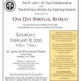 One Day Spiritual Retreat for Grieving Parents – Saturday, February 8