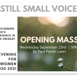 """Evening for Women"" Program<br>Wednesday, September 23 at 5pm on the Lawn at St. Paul"