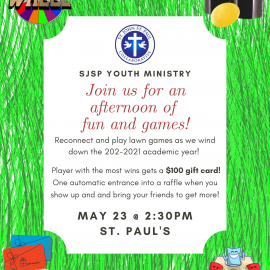Youth Ministry Event – Sunday, May 23 at 2:30pm at St. Paul
